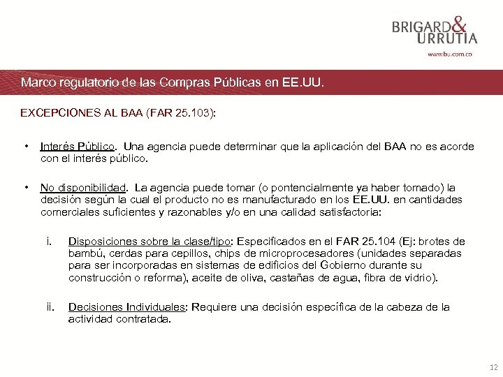 Marco regulatorio de las Compras Públicas en EE. UU. EXCEPCIONES AL BAA (FAR 25.