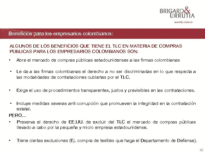 Beneficios para los empresarios colombianos: ALGUNOS DE LOS BENEFICIOS QUE TIENE EL TLC EN