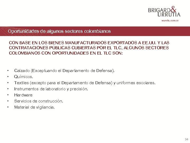 Oportunidades de algunos sectores colombianos CON BASE EN LOS BIENES MANUFACTURADOS EXPORTADOS A EE.