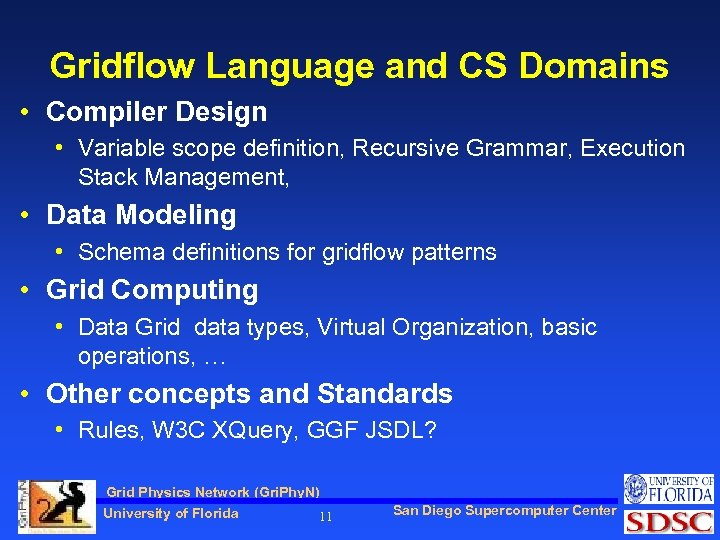 Gridflow Language and CS Domains • Compiler Design • Variable scope definition, Recursive Grammar,