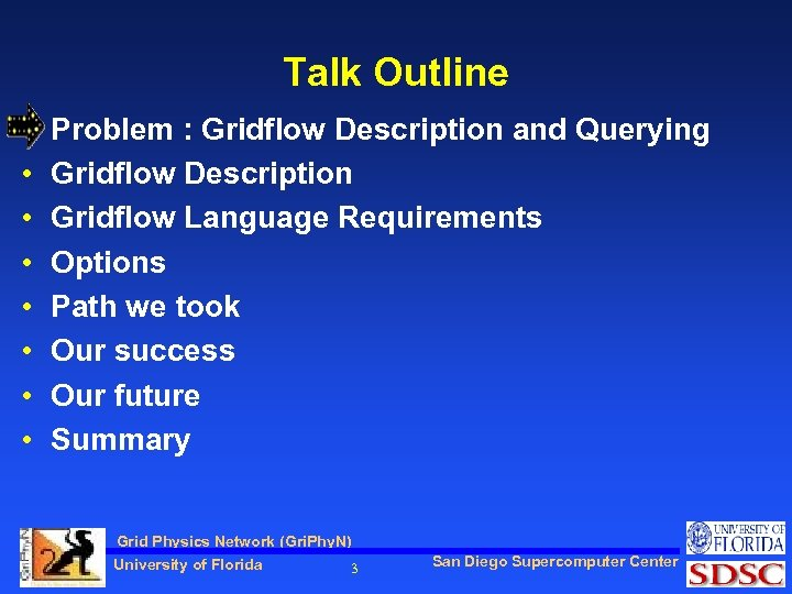 Talk Outline • • Problem : Gridflow Description and Querying Gridflow Description Gridflow Language