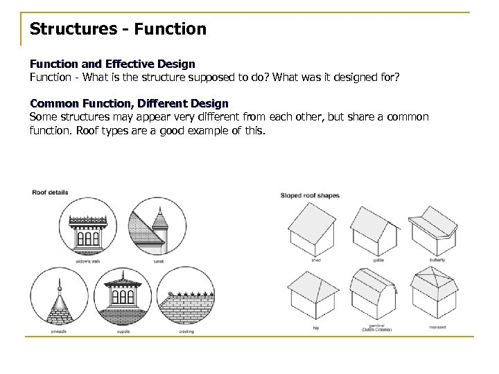 Structures - Function and Effective Design Function - What is the structure supposed to