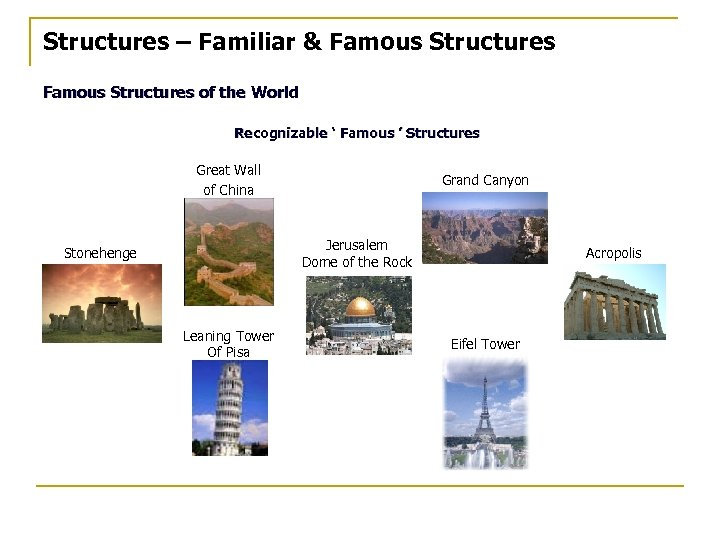 Structures – Familiar & Famous Structures of the World Recognizable ' Famous ' Structures