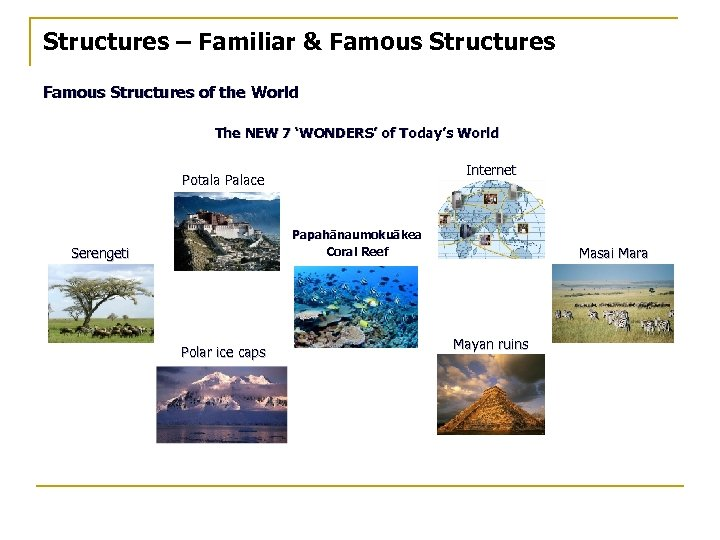 Structures – Familiar & Famous Structures of the World The NEW 7 'WONDERS' of