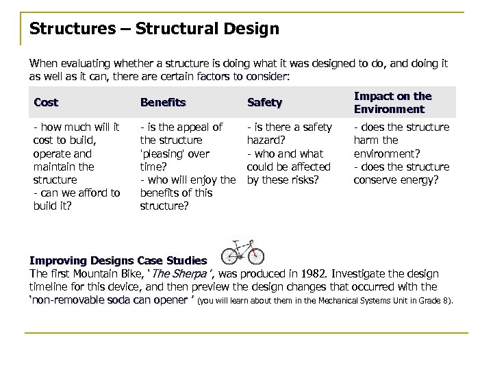 Structures – Structural Design When evaluating whether a structure is doing what it was