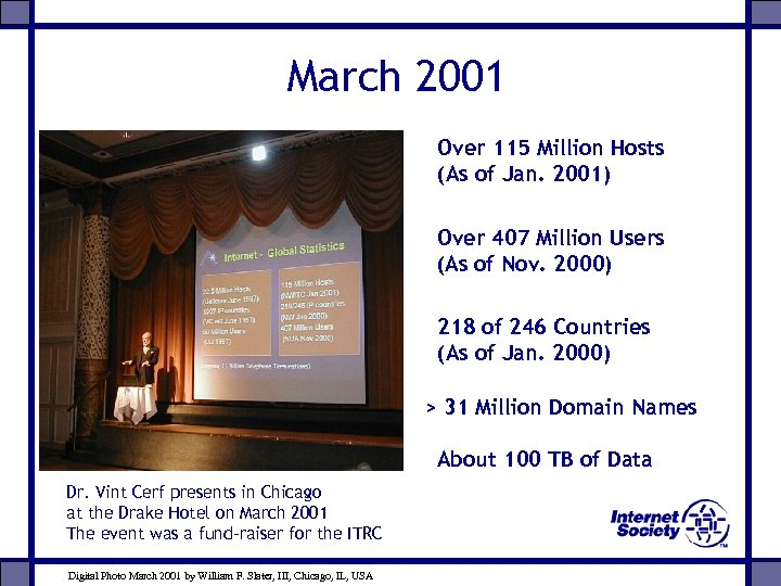 March 2001 Over 115 Million Hosts (As of Jan. 2001) Over 407 Million Users