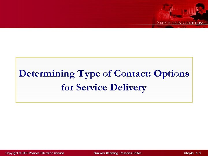Determining Type of Contact: Options for Service Delivery Copyright © 2008 Pearson Education Canada