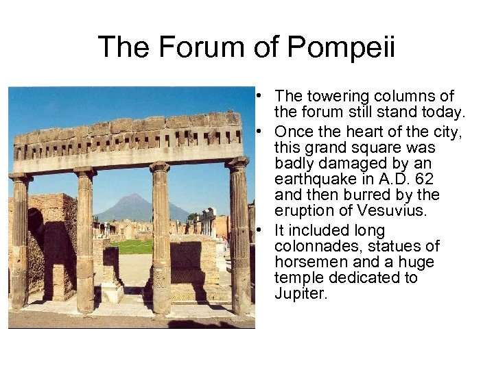 The Forum of Pompeii • The towering columns of the forum still stand today.
