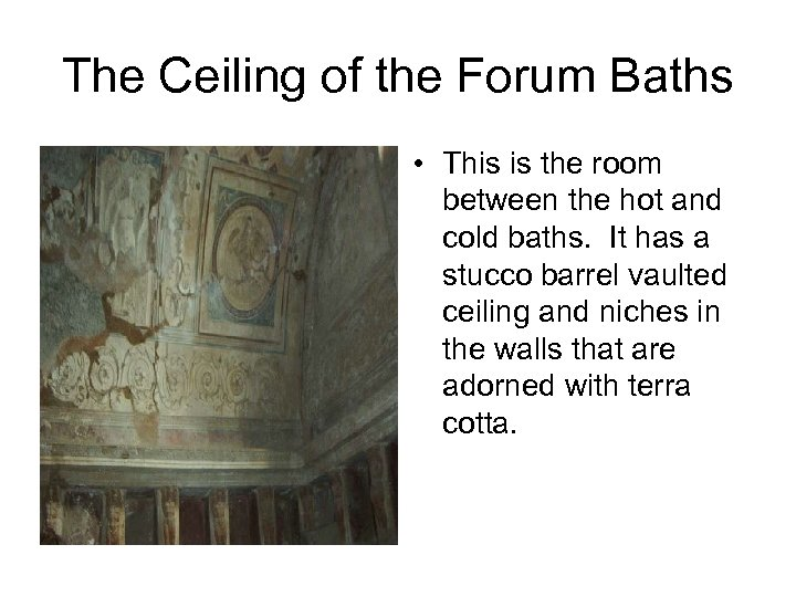 The Ceiling of the Forum Baths • This is the room between the hot