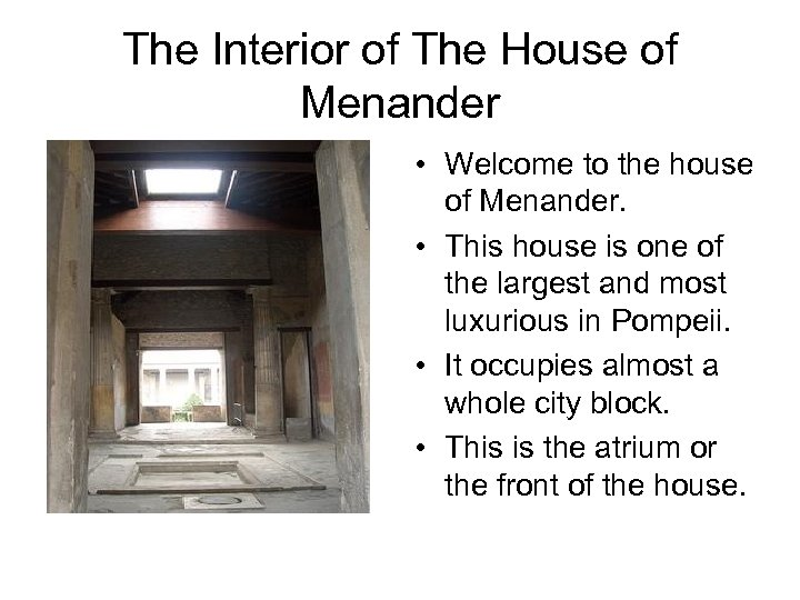 The Interior of The House of Menander • Welcome to the house of Menander.