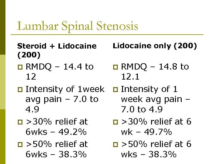Lumbar Spinal Stenosis Steroid + Lidocaine (200) Lidocaine only (200) RMDQ – 14. 4