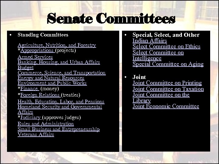 Senate Committees • Standing Committees Agriculture, Nutrition, and Forestry *Appropriations (projects) Armed Services Banking,