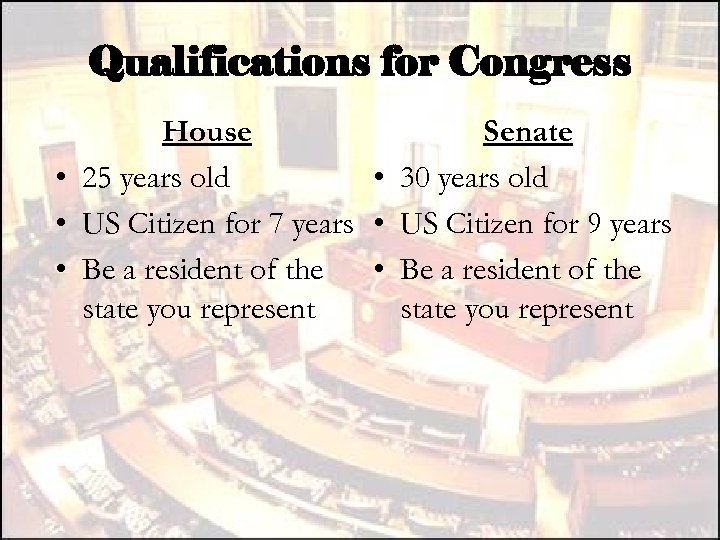 Qualifications for Congress House Senate • 25 years old • 30 years old •