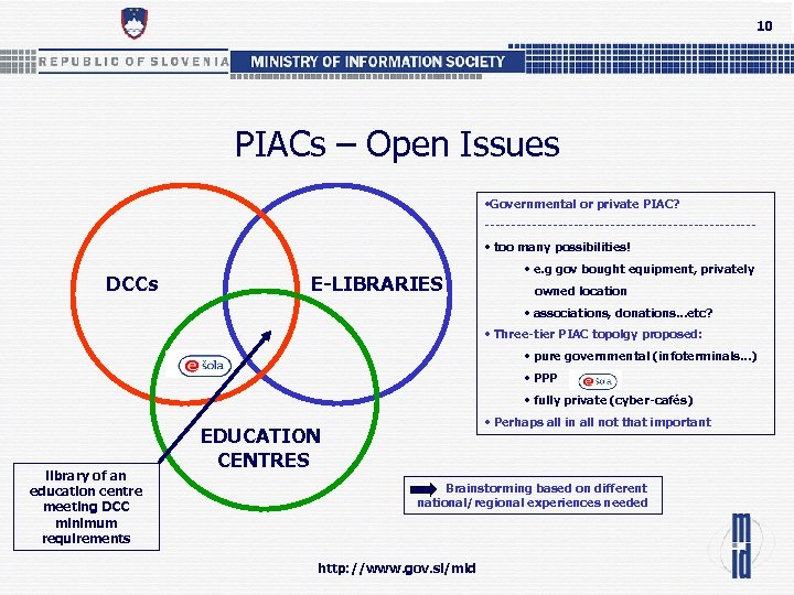 10 PIACs – Open Issues • Governmental or private PIAC? -------------------------- • too many