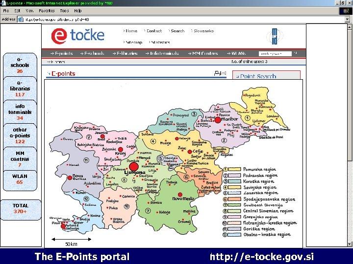 6 portal e-točk eschools 26 elibraries 117 info terminals 34 other e-points 122 MM