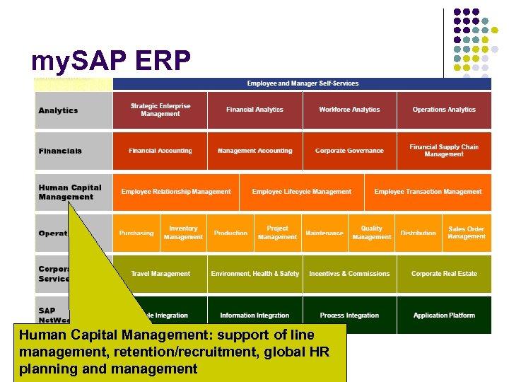 my. SAP ERP Human Capital Management: support of line management, retention/recruitment, global HR planning