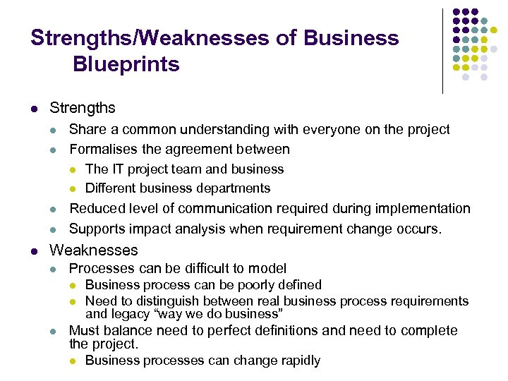 Strengths/Weaknesses of Business Blueprints l Strengths l l Share a common understanding with everyone