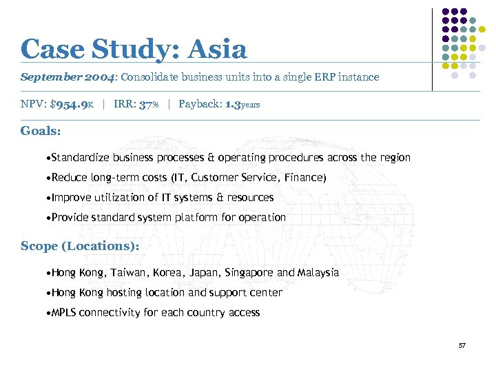 Case Study: Asia September 2004: Consolidate business units into a single ERP instance NPV: