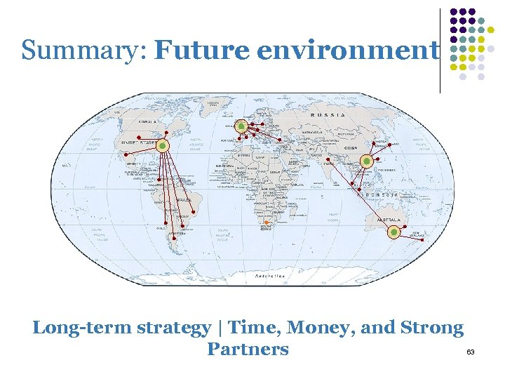 Summary: Future environment Long-term strategy | Time, Money, and Strong Partners 63