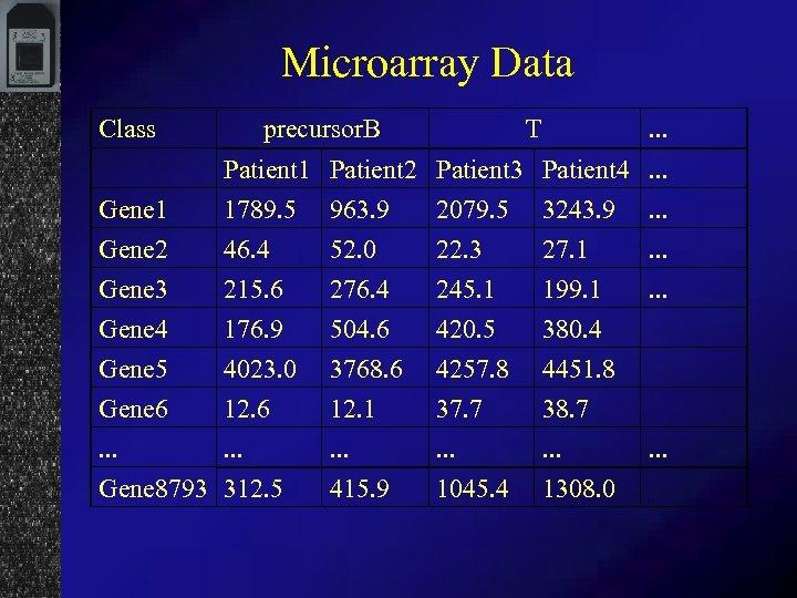 Microarray Data Class precursor. B T . . . Gene 1 Gene 2 Patient