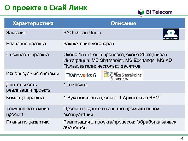 О проекте в Скай Линк Характеристика Описание Заказчик ЗАО «Скай Линк» Название проекта Заключение