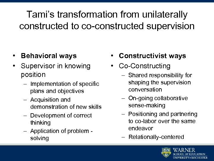Tami's transformation from unilaterally constructed to co-constructed supervision • Behavioral ways • Supervisor in