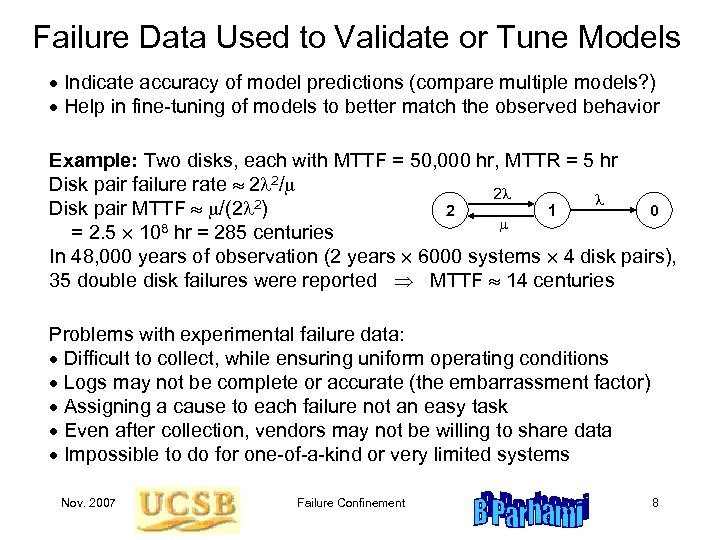 Failure Data Used to Validate or Tune Models Indicate accuracy of model predictions (compare