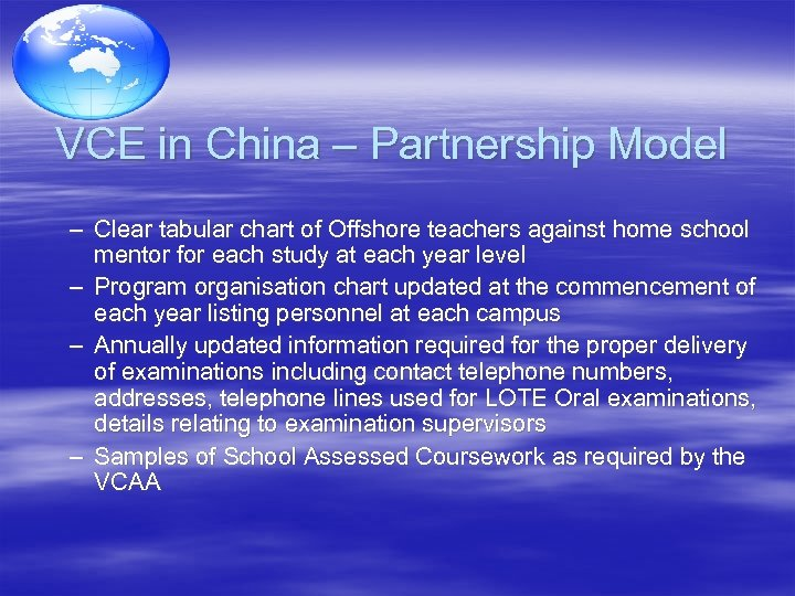 VCE in China – Partnership Model – Clear tabular chart of Offshore teachers against