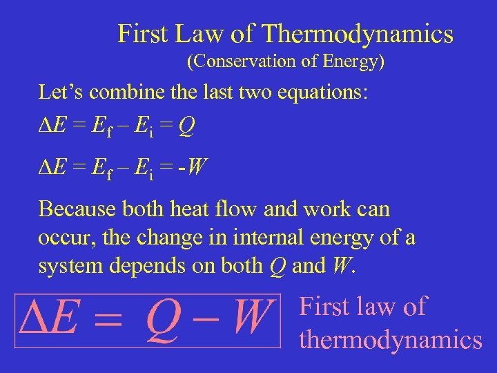 First Law of Thermodynamics (Conservation of Energy) Let's combine the last two equations: E