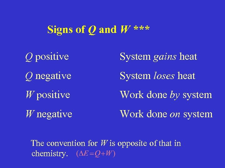Signs of Q and W *** Q positive System gains heat Q negative System