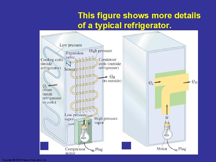 This figure shows more details of a typical refrigerator. Copyright © 2009 Pearson Education,