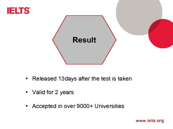 Result • Released 13 days after the test is taken • Valid for 2