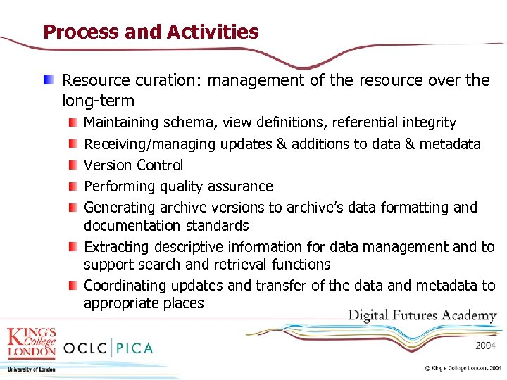 Process and Activities Resource curation: management of the resource over the long-term Maintaining schema,