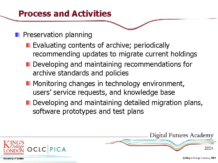 Process and Activities Preservation planning Evaluating contents of archive; periodically recommending updates to migrate