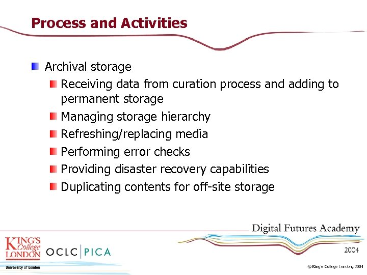 Process and Activities Archival storage Receiving data from curation process and adding to permanent