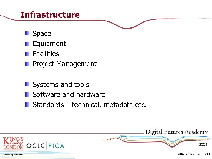 Infrastructure Space Equipment Facilities Project Management Systems and tools Software and hardware Standards –