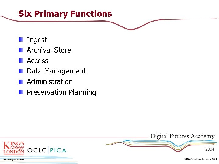 Six Primary Functions Ingest Archival Store Access Data Management Administration Preservation Planning