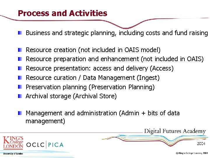 Process and Activities Business and strategic planning, including costs and fund raising Resource creation