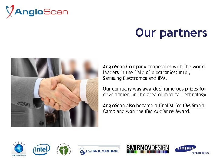 Our partners Angio. Scan Company cooperates with the world leaders in the field of