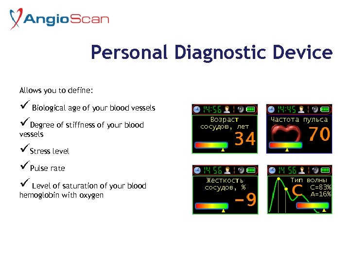 Personal Diagnostic Device Allows you to define: ü Biological age of your blood vessels