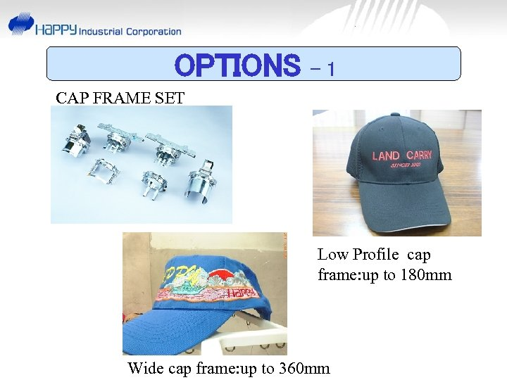 OPTIONS -1 CAP FRAME SET Low Profile cap frame: up to 180 mm Wide