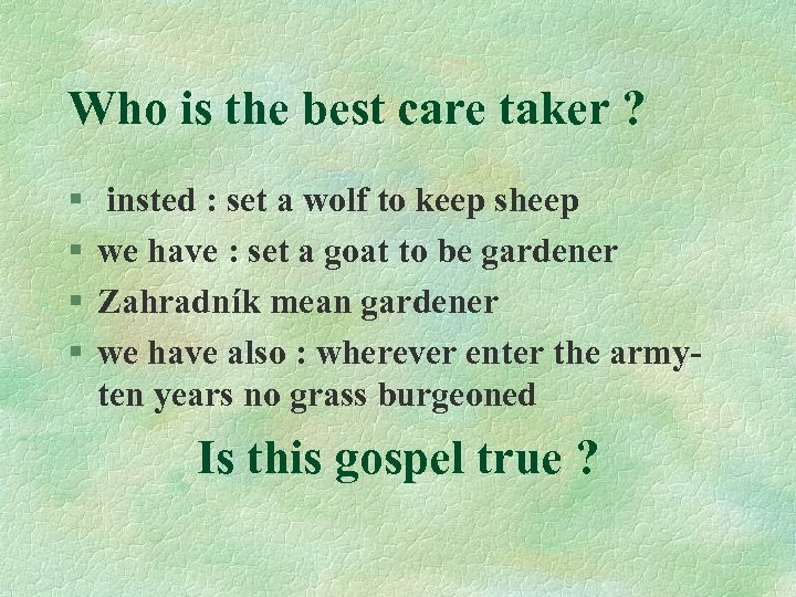 Who is the best care taker ? § § insted : set a wolf