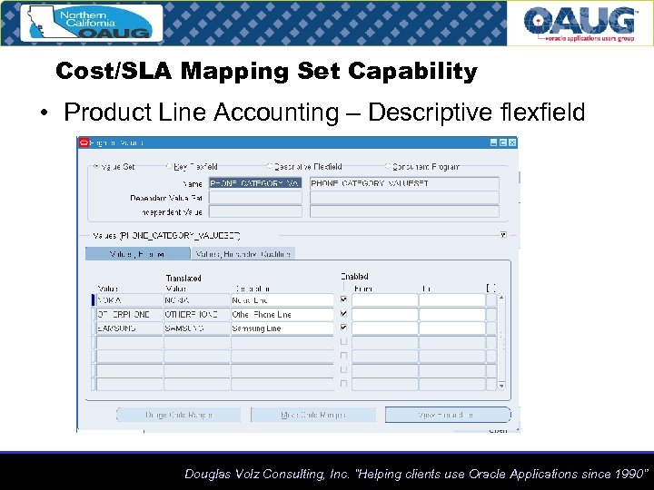 Cost/SLA Mapping Set Capability • Product Line Accounting – Descriptive flexfield Douglas Volz Consulting,
