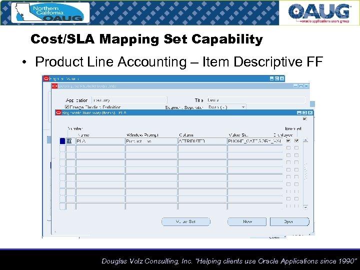 Cost/SLA Mapping Set Capability • Product Line Accounting – Item Descriptive FF Douglas Volz