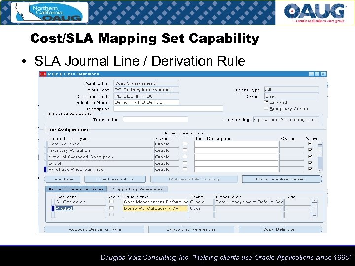 Cost/SLA Mapping Set Capability • SLA Journal Line / Derivation Rule Douglas Volz Consulting,