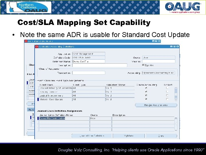 Cost/SLA Mapping Set Capability • Note the same ADR is usable for Standard Cost