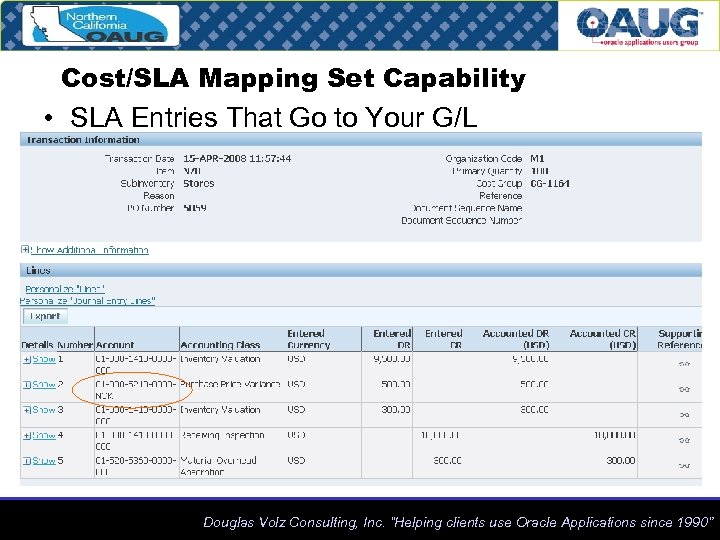 Cost/SLA Mapping Set Capability • SLA Entries That Go to Your G/L Douglas Volz