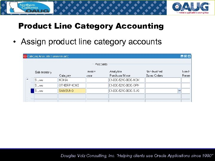 Product Line Category Accounting • Assign product line category accounts Douglas Volz Consulting, Inc.