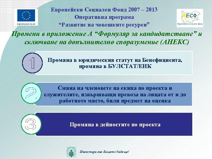 "Европейски Социален Фонд 2007 – 2013 Оперативна програма ""Развитие на човешките ресурси"" Промени в"