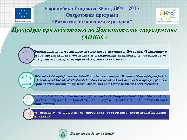"""Европейски Социален Фонд 2007 – 2013 Оперативна програма """"Развитие на човешките ресурси"""" Процедура при"""